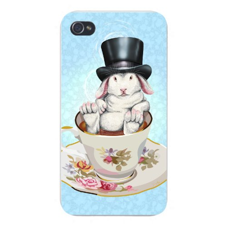 Apple iPhone Custom Case 4 4S White Plastic Snap On - Rabbit Hole Funny Bunny in Teacup w/ Top Hat ()