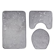 Bath Rugs Set Bathroom Rug 3 Pieces: Non-Slip U-Shaped Contour Mat, Lid Cover, Soft Shell Embossing Toilet Mat Home - Gray