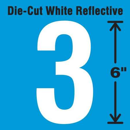 STRANCO INC DWR-6-3-EA Die-Cut Reflective Number Label