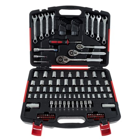 Mechanics Tool Set- 135 Piece by Stalwart, Hand Tool Set Includes - Screwdriver, Wrench, and Ratchet Set (Great for the Home, Garage, or Car)
