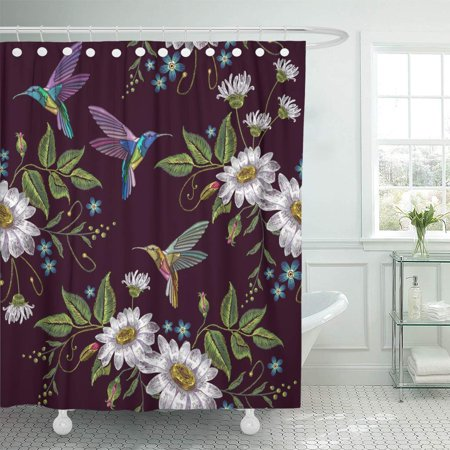 Black & White Ceramic Bathroom - KSADK Humming Bird and Chamomile Design Beautiful Hummingbirds and White on Black Shower Curtain Bathroom Curtain 66x72 inch