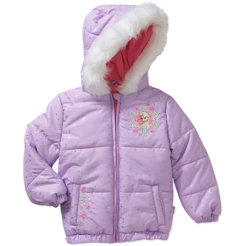 Girl/'s Disney Frozen Elsa Anna Faux Fur Hooded Coat Lavender Pink Size 2T