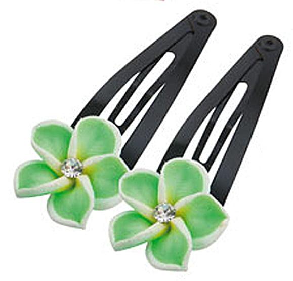 Green Colored Hawaiian Flower Hair Clips (2 Hair Clips)