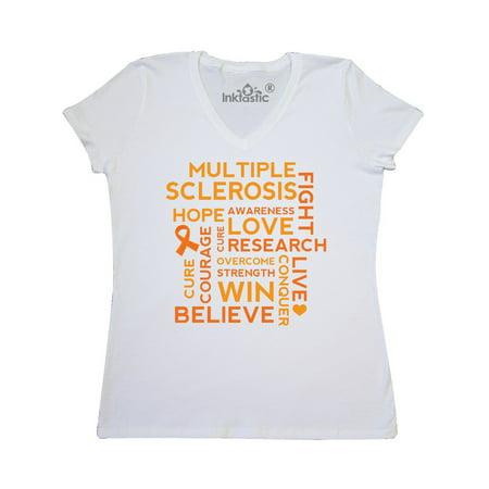 55f92d0a Inktastic - Multiple Sclerosis Awareness word cloud Women's V-Neck T-Shirt  - Walmart.com