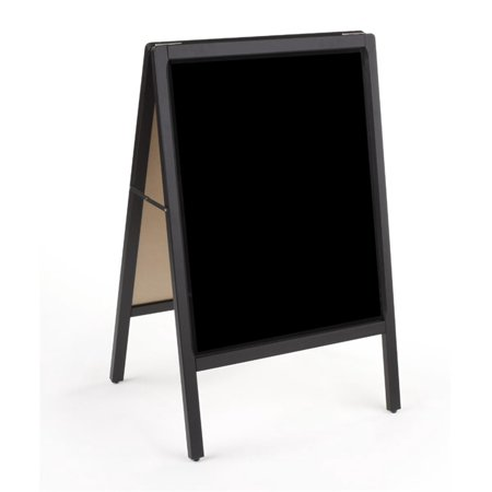 Sandwich Board Sign - Sandwich Board with 22x28 Black Write-on Surface, Two-Sided Sidewalk Sign - Black Finished Wood Frame (SVBR2228ES)