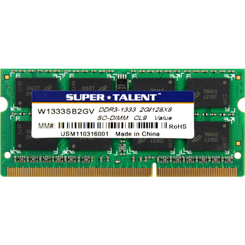 Super Talent DDR3-1333 SODIMM 2GB/128x8 CL9 Notebook Memory