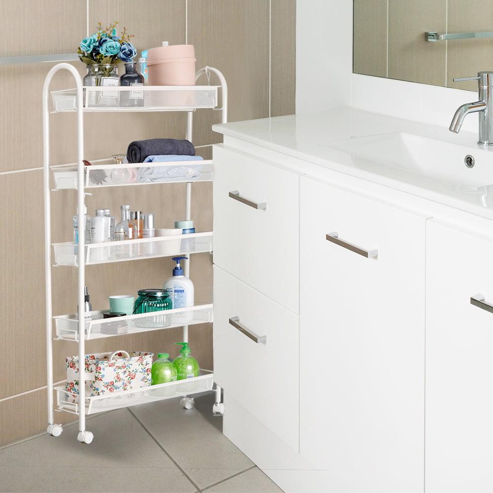 Mobile Shelving Organizer Gap Storage Slide Rack Shelf for Kitchen Bathroom Cart