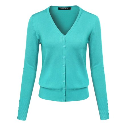 342d1c97d9 FashionOutfit - FashionOutfit Women s Basic Solid V-Neck Button Closure  Long Sleeves Sweater Cardigan - Walmart.com