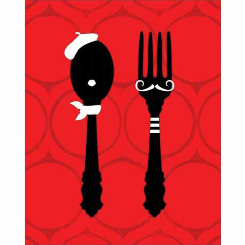 French Man & Woman Fork & Spoon Beret Mustache Vector Silhouette Illustration Red & Black Canvas Art by Pied Piper Creative