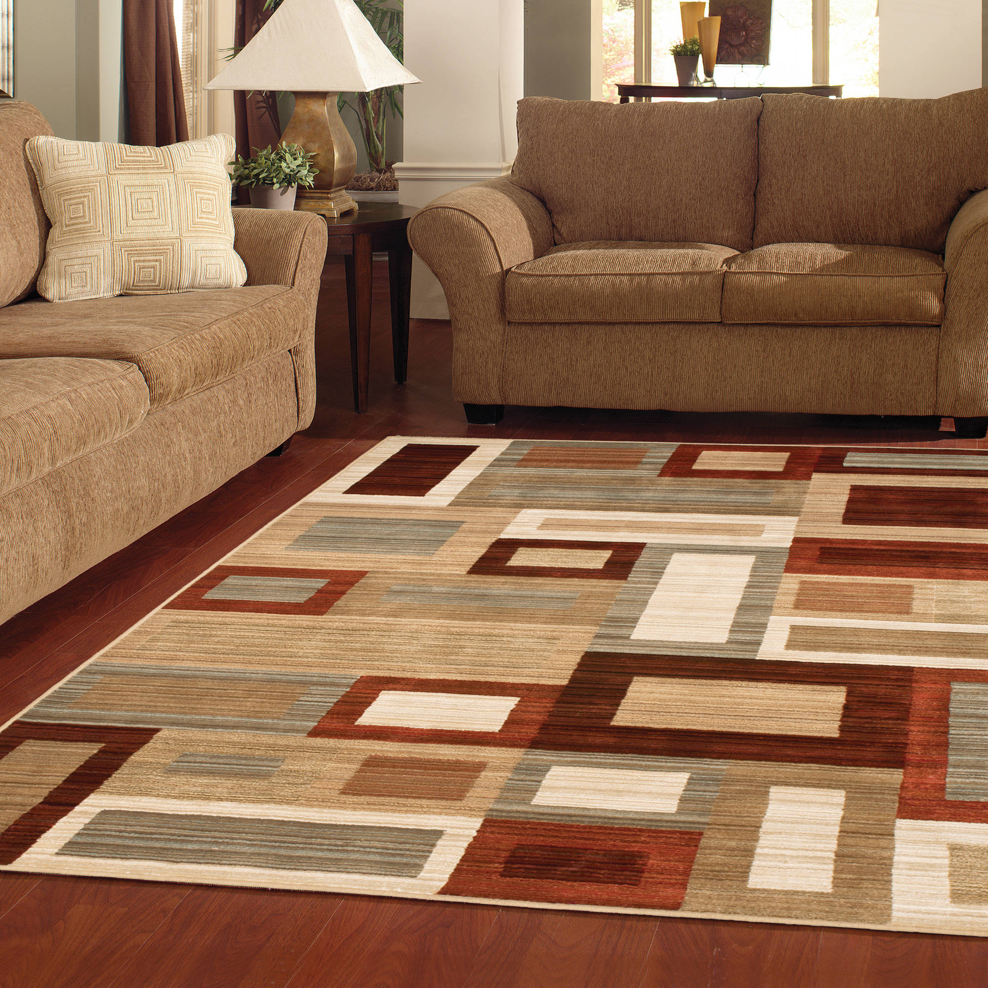 Better Homes and Gardens Franklin Squares Woven Olefin Area Rug
