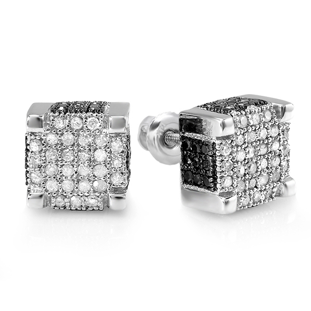 0.97 Carat (ctw) Sterling Silver Round Black & White Diamond Mens Micro Pave Ice Cube Hip Hop Stud Earrings 1 CT