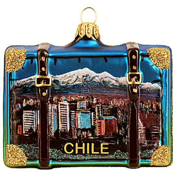 Brazil Suitcase Travel South America Polish Glass Christmas Ornament 110010