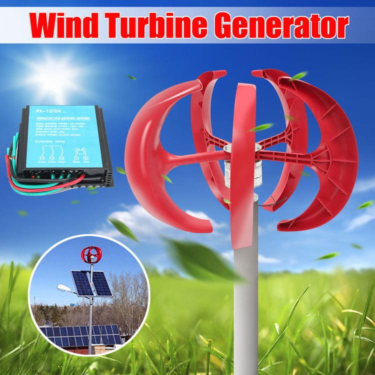 Wind Turbine 400W Dc 12V 5 Blades Wind Turbine Generator Lantern Type Windmill Kit For Homes Businesses Industrial Energy Supplementation (Red)