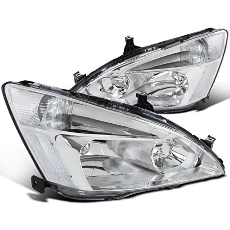 Spec-D Tuning For 2003-2007 Honda Accord Jdm Headlights Signal Lamps Chrome W/ Clear Reflector 2003 2004 2005 2006 2007 (Left+Right)