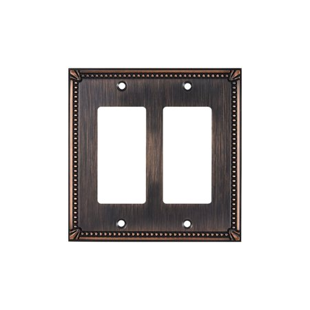 Rok Hardware Traditional  Rocker Switch Plate 2 Gang Brushed Oil-Rubbed -