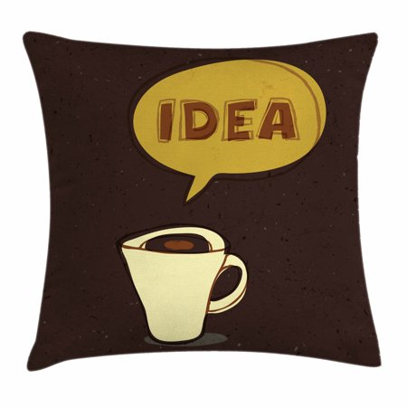 Coffee Throw Pillow Cushion Cover, Cup of Idea Concept Brew of Creativity and Imagination Sketch Art, Decorative Square Accent Pillow Case, 16 X 16 Inches, Dark Brown Mustard Cream, by Ambesonne (Decorative Ideas)
