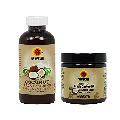 "Tropic Isle Living Jamaican COCONUT Black Castor Oil & COCONUT Hair Food 4oz ""Set"" (w/ Applicator)"