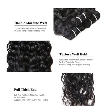 7A Malaysian Virgin Hair Water Wave 3 Pcs Wet and Wavy Human Hair Weave, (100 Human Hair Wet And Wavy Weave)