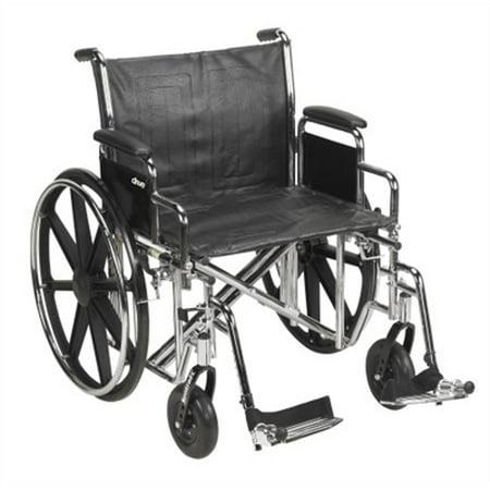 "22"" Bariatric Wheelchair, Steel Frame, Black, Detachable Desk Arm, Swing Away Foot Rest, 450 Lb. Capacity"