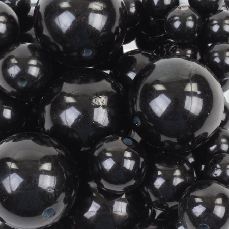 Koyal Wholesale Black 80 Piece Floating Pearl Beads In Transparent Water Gels, Wedding Floating Candle Centerpiece