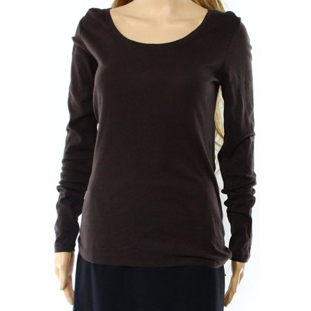 Nordstrom Rack New Brown Womens Xs Scoop Neck Long Sleeve Tee T Shirt