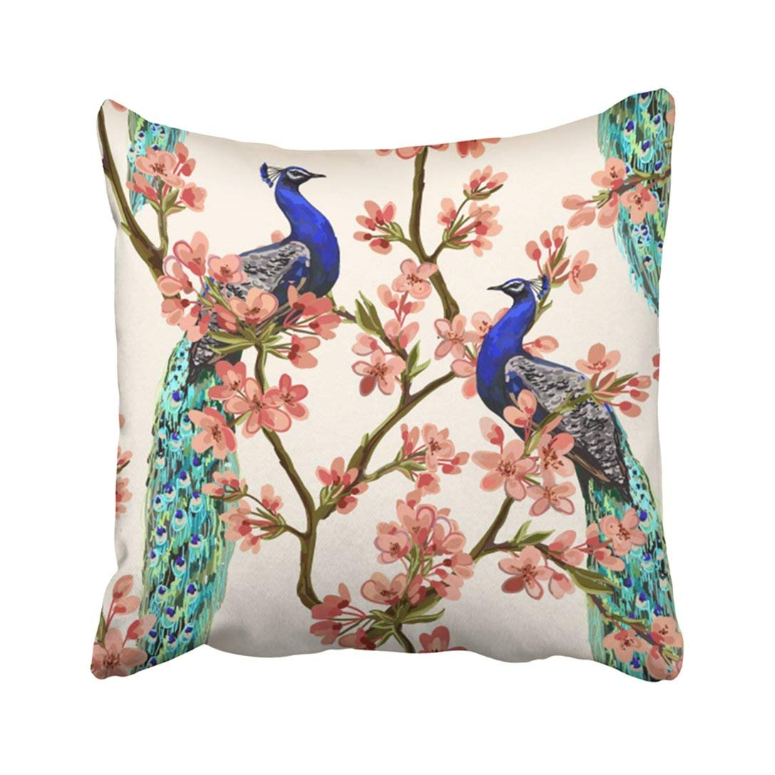 WOPOP Pink Beautiful with Peacock Tropical Japanese Flowers Tree Spring Branches Perfect Pillowcase 16x16 inch