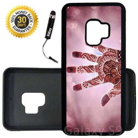 Custom Galaxy S9 Case (Mehandi Art Hands of India) Edge-to-Edge Rubber Black Cover Ultra Slim | Lightweight | Includes Stylus Pen by