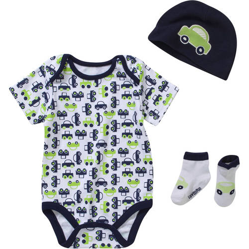 Lovespun Newborn Baby Boy 3 Piece Creeper, Sock, & Hat Gift Set