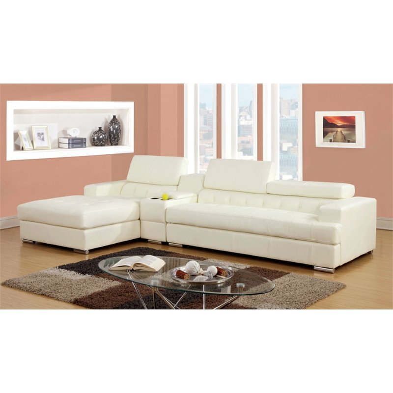 Furniture of America Contreras 2 Piece Leatherette Sectional in White