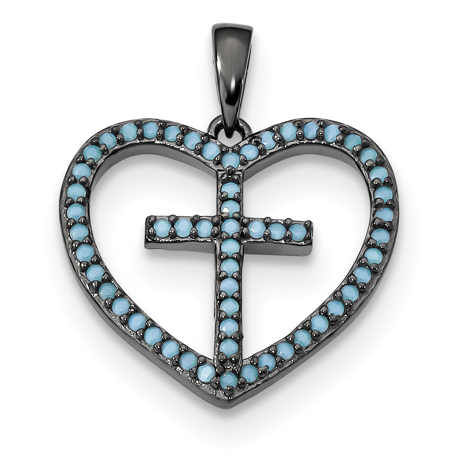 925 Sterling Silver Black Dyed White Howlite Cross Religious Pendant Charm Necklace Love With Fine Jewelry Gifts For Women For Her - image 4 of 4