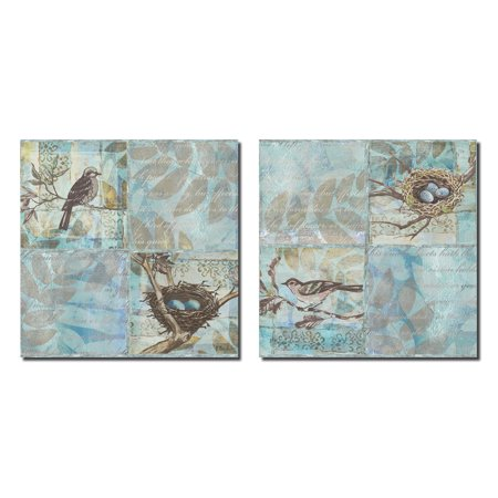 Florentine Set (Florentine Songbird I Lovely Bird and Nest with Script Set; Two 12x12 Poster Prints. Light Blue/Brown)