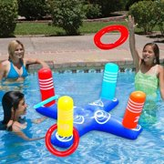 Inflatable Ring Toss Pool Game Toys Floating Swimming Pool Ring with 4 Pcs Rings for Multiplayer Water Pool Game Kid Family Pool Toys & Water Fun Beach Floats Outdoor Play Game Party