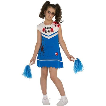 Not So Cheery Girls Zombie Ghost Cheerleader Halloween Costume-M](Girl Zombie Halloween)