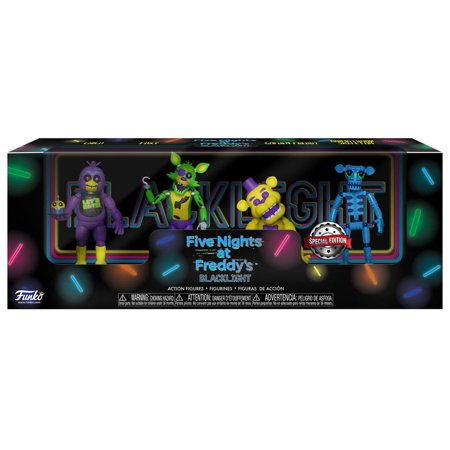 Funko Five Nights at Freddy's Blacklight Chica, Foxy, Golden Freddy & Animatronic Skeleton Mini Figure (Animatronics)