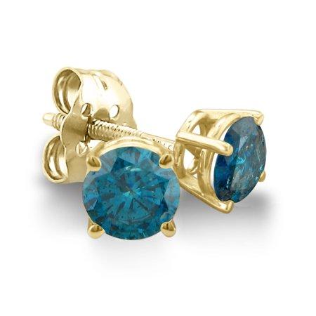 1 2ct Blue Diamond Stud Earrings In 14k Yellow Gold