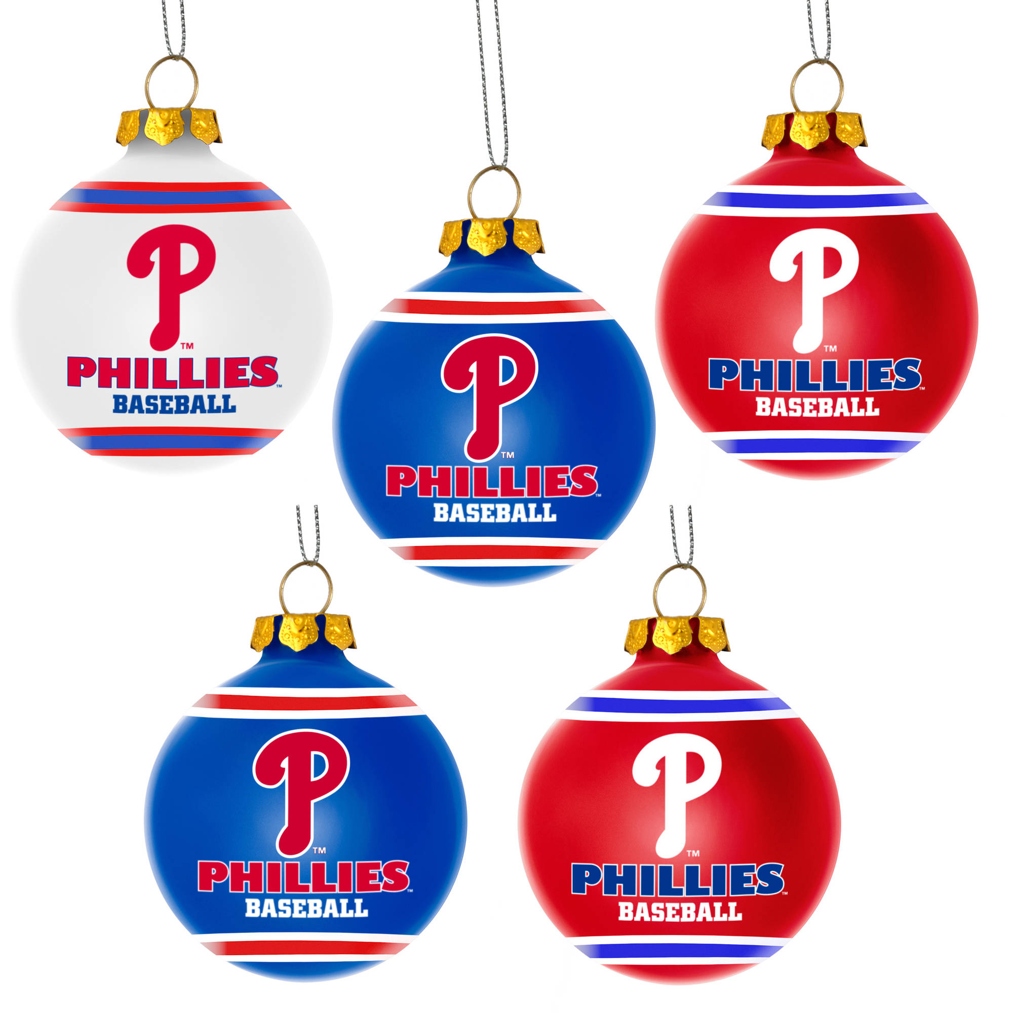 Forever Collectibles MLB 5-Pack Shatterproof Ball Ornaments, Philadelphia Phillies