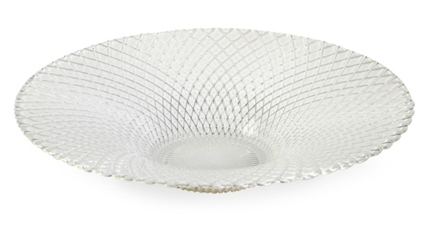 "15.75"" Round Elegant Textured White Glass Serving Bowl by CC Home Furnishings"