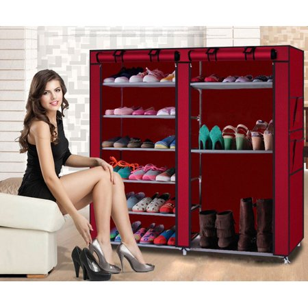 Double Rows 9 Lattices Combination Style Shoe Cabinet Wine Red ()