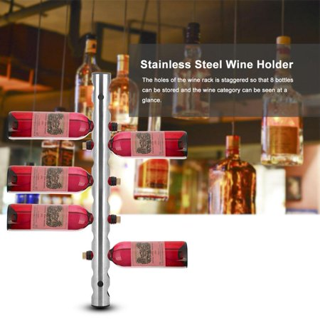 Anauto 2 Types Stainless Steel Wine Rack Wall Mounted Kitchen Home Bar Holder Wines Shelves, Wall Mounted wine Rack