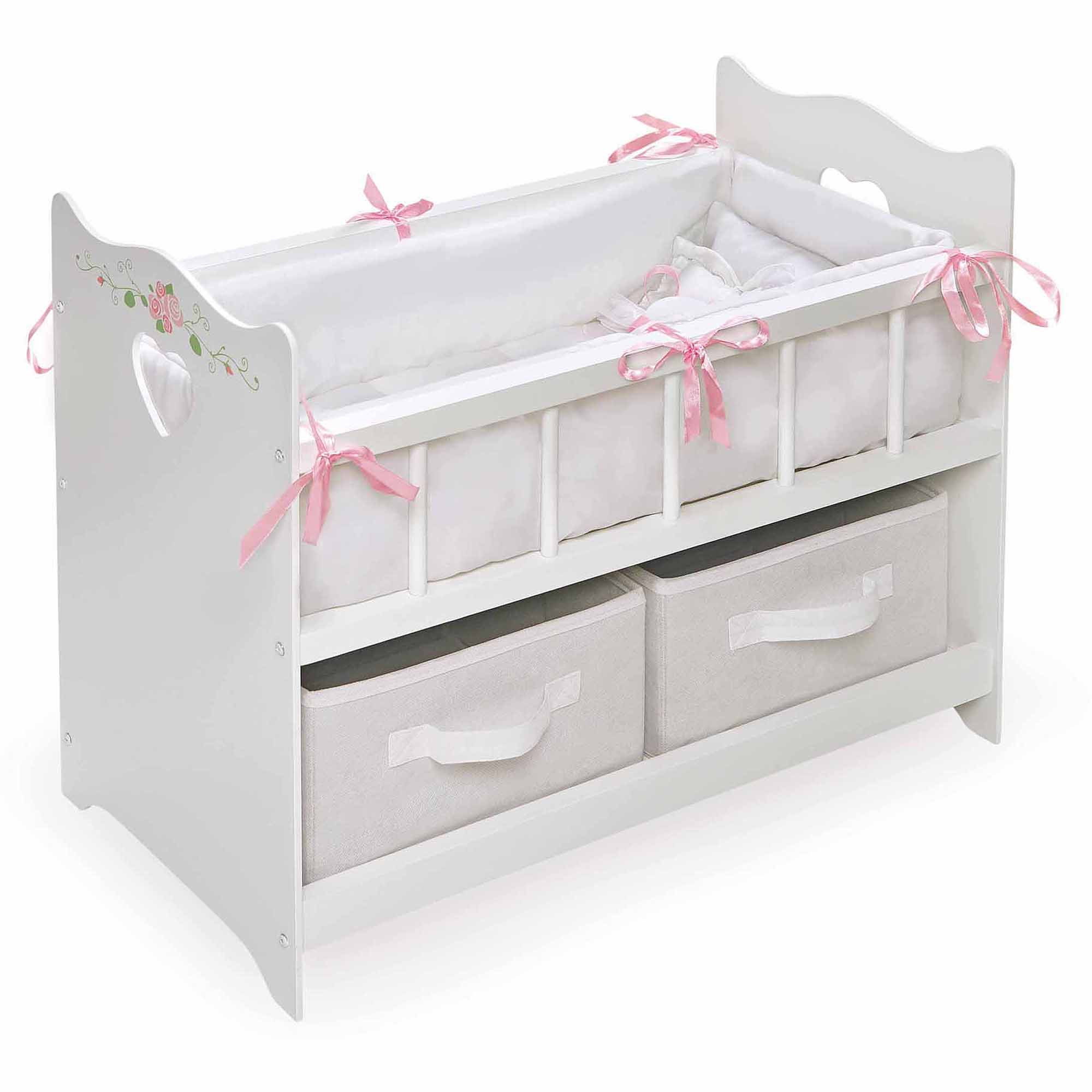 "Badger Basket White Rose Doll Crib with 2 Baskets, Fits Most 18"" Dolls & My Life As"