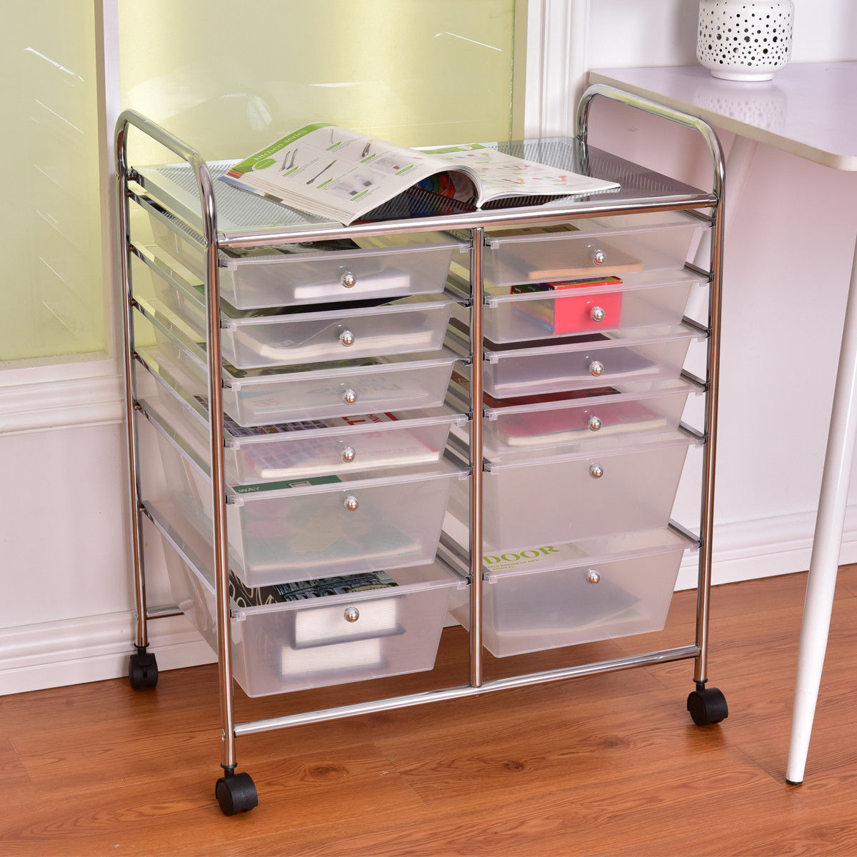 rolling cart with drawers costway 12 drawer rolling storage cart scrapbook paper 25618