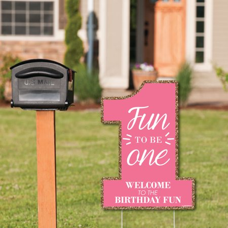 Fun to be One - 1st Birthday Girl - Party Decorations - Birthday Party Welcome Yard Sign](1st Birthday Yard Sign)