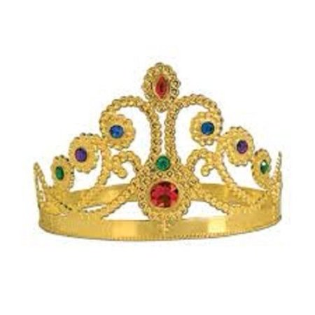 Adult Medieval English Queen Gold Plastic Crown Mardi Gras Costume Accessory - New Orleans Mardi Gras Costumes