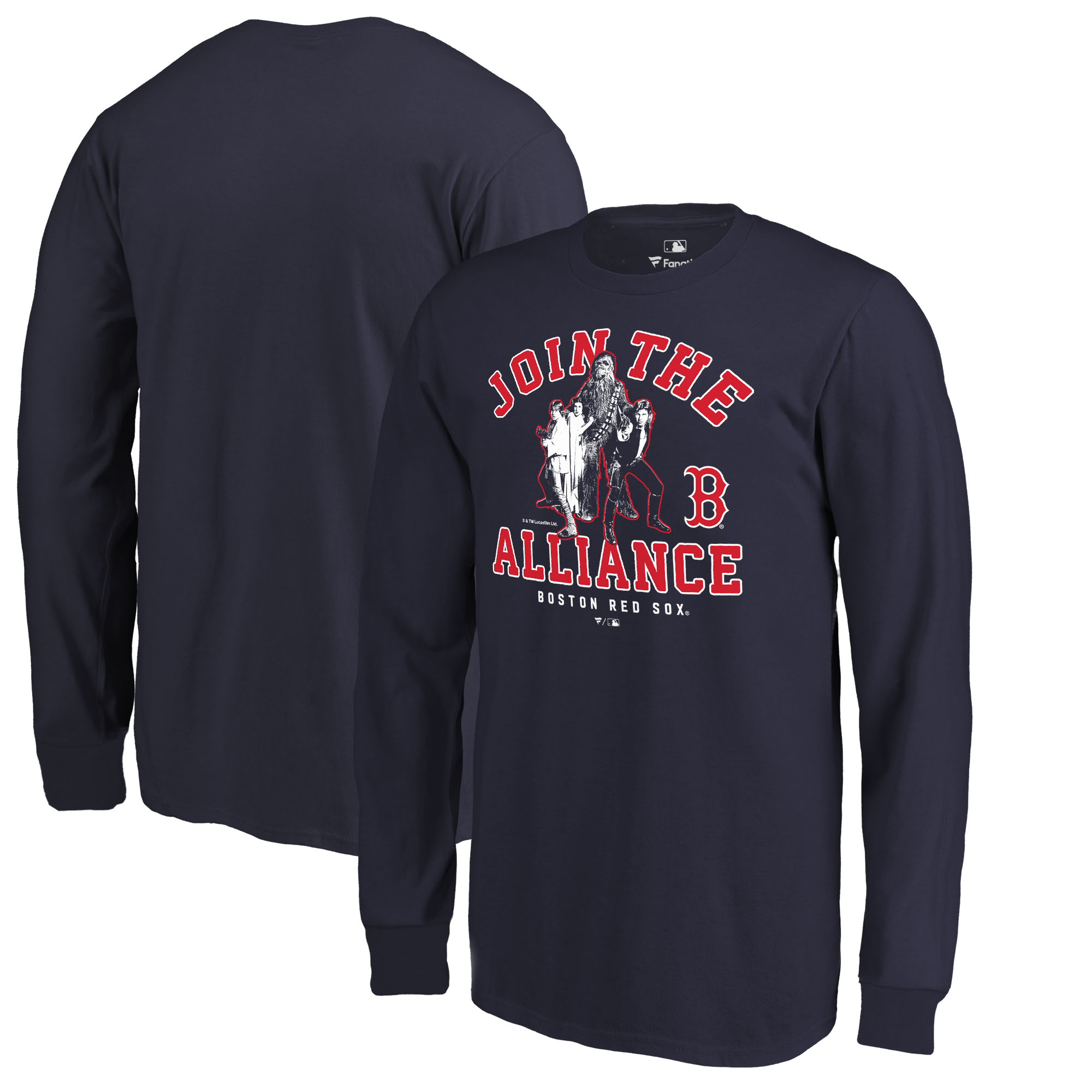 Boston Red Sox Fanatics Branded Youth MLB Star Wars Join The Alliance Long Sleeve T-Shirt - Navy