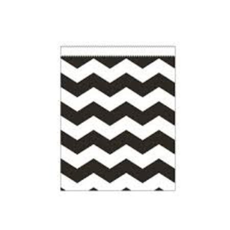 Club Pack of 120 Black and White Chevron Striped Large Paper Party Treat Bags 8.75
