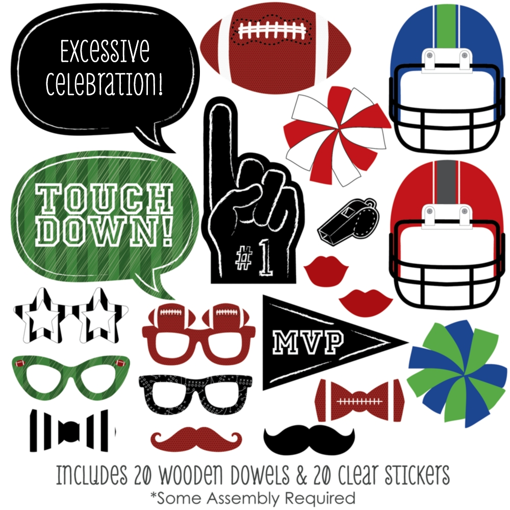 End Zone - Football Photo Booth Props Kit - 20 Count