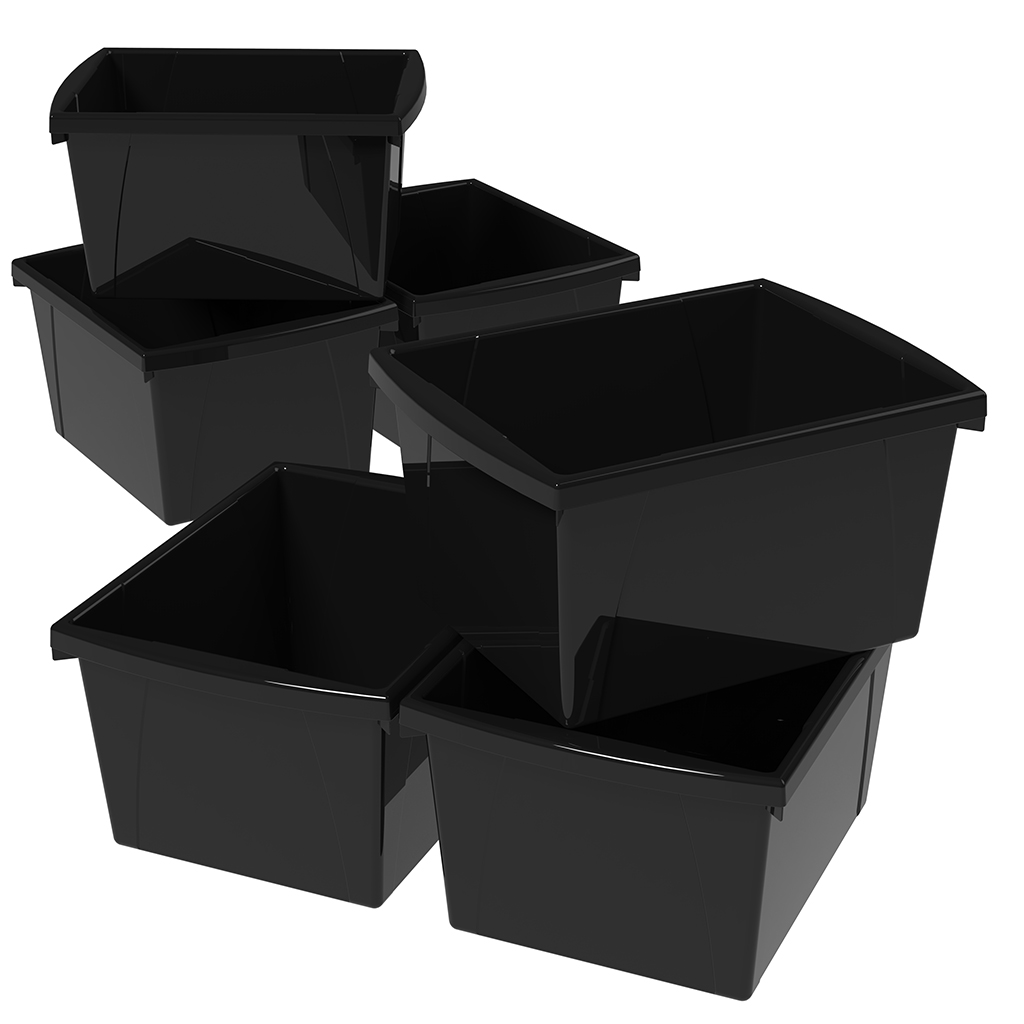 Storex 4 Gallon/15 L Classroom Storage Bin, Black (6 units/pack)