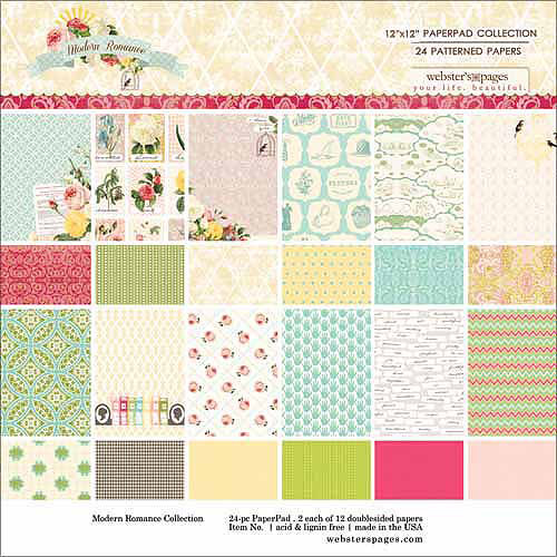 """Webster's Pages Modern Romance Collection Pad, 12"""" x 12"""", 24/Sheets, 12 Double-Sided Designs/2 Each"""
