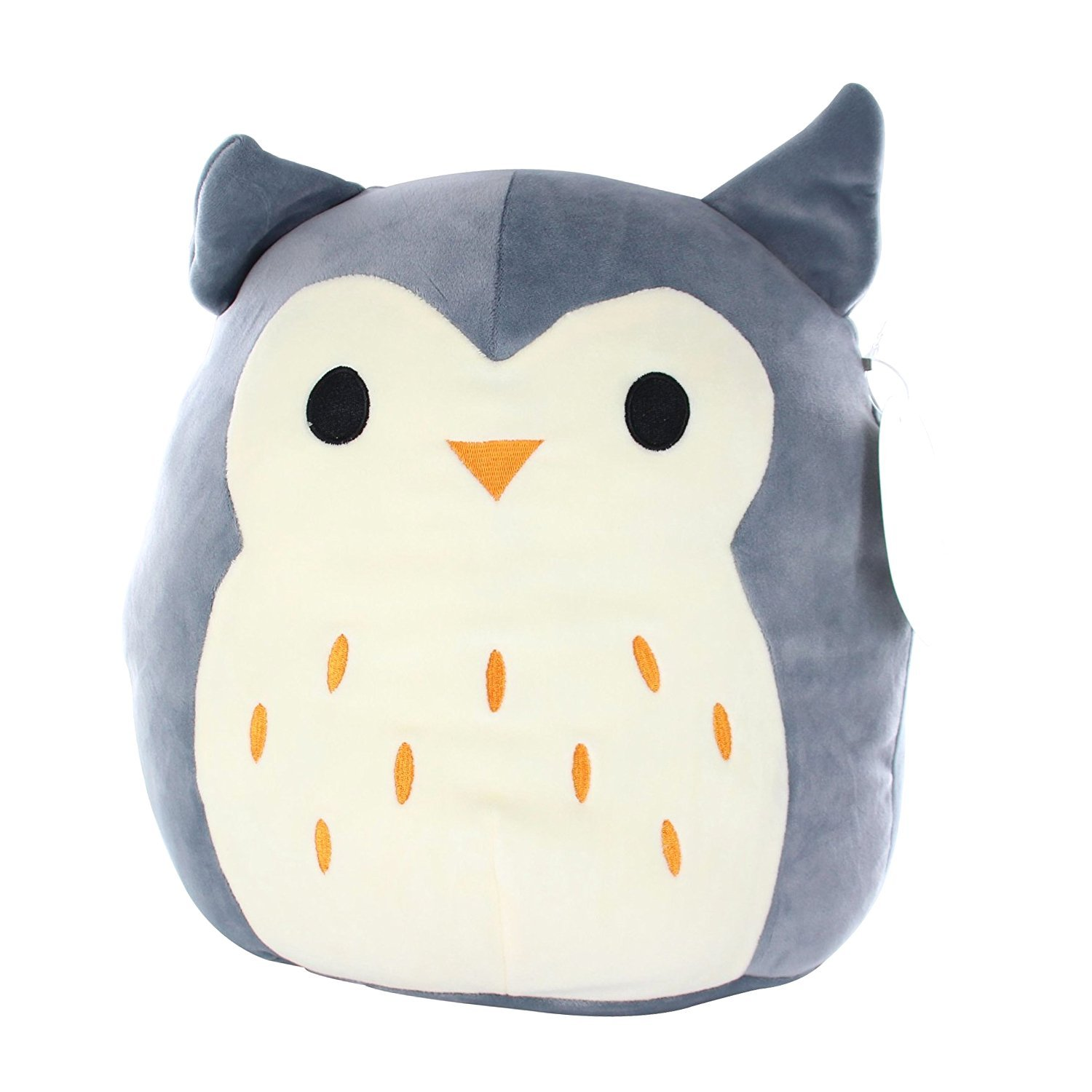 Kellytoy Squishmallow Gray Owl Pillow Plush Toy, 13 inches