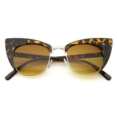 2a54007fd0fb sunglass.la - sunglassLA - Women's High Fashion Half Frame Bold Square Cat  Eye Sunglasses - 50mm - Walmart.com